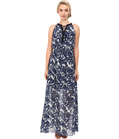 Vince Camuto - Printed Chiffon Maxi Halter with Keyhole and Tassels