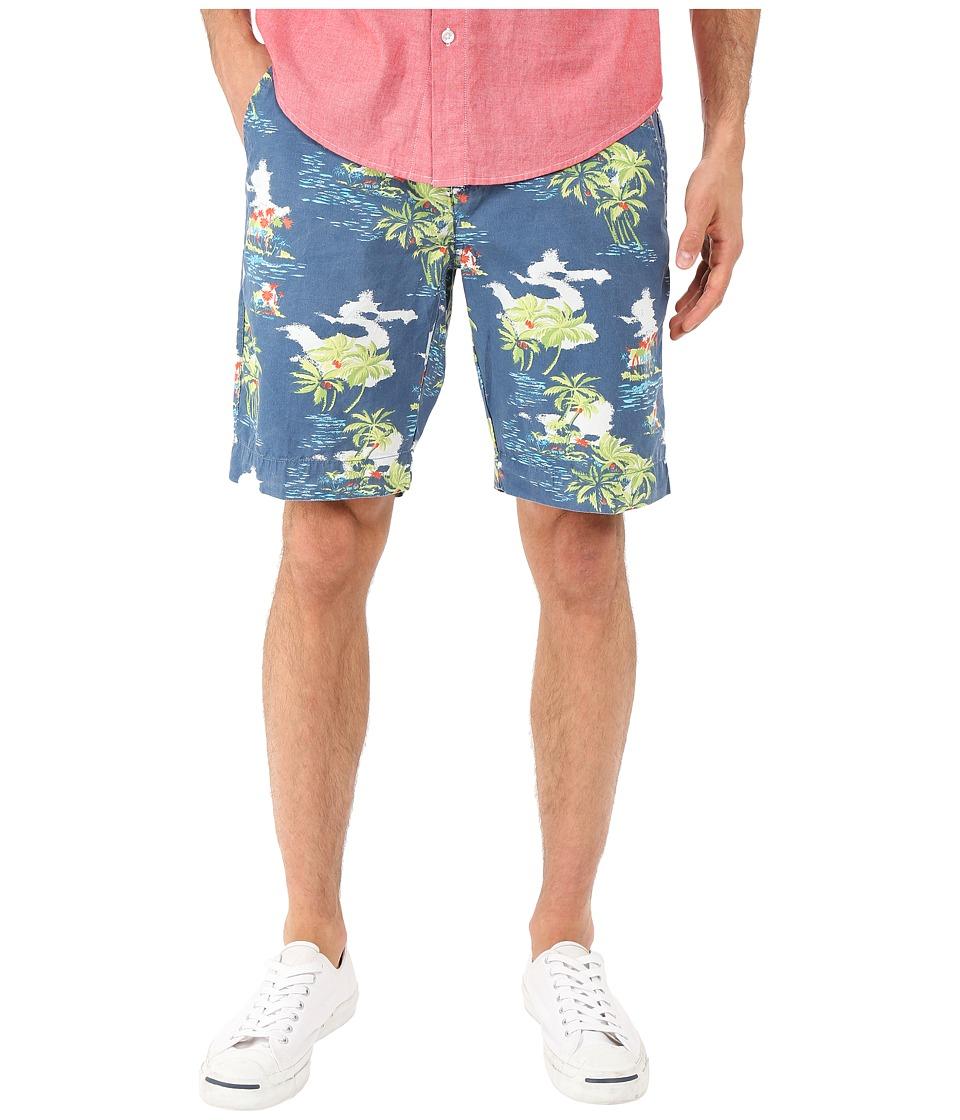 Vintage 1946 Tropical Print Flat Front Shorts Ocean Mens Shorts