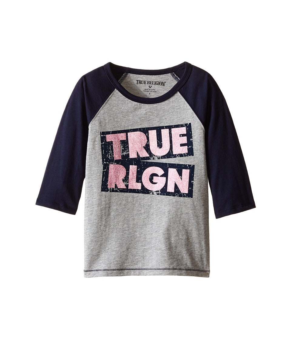 True Religion Kids Long Sleeve Raglan Tee Shirt (Toddler/Little Kids) (Heather Gray) Girl