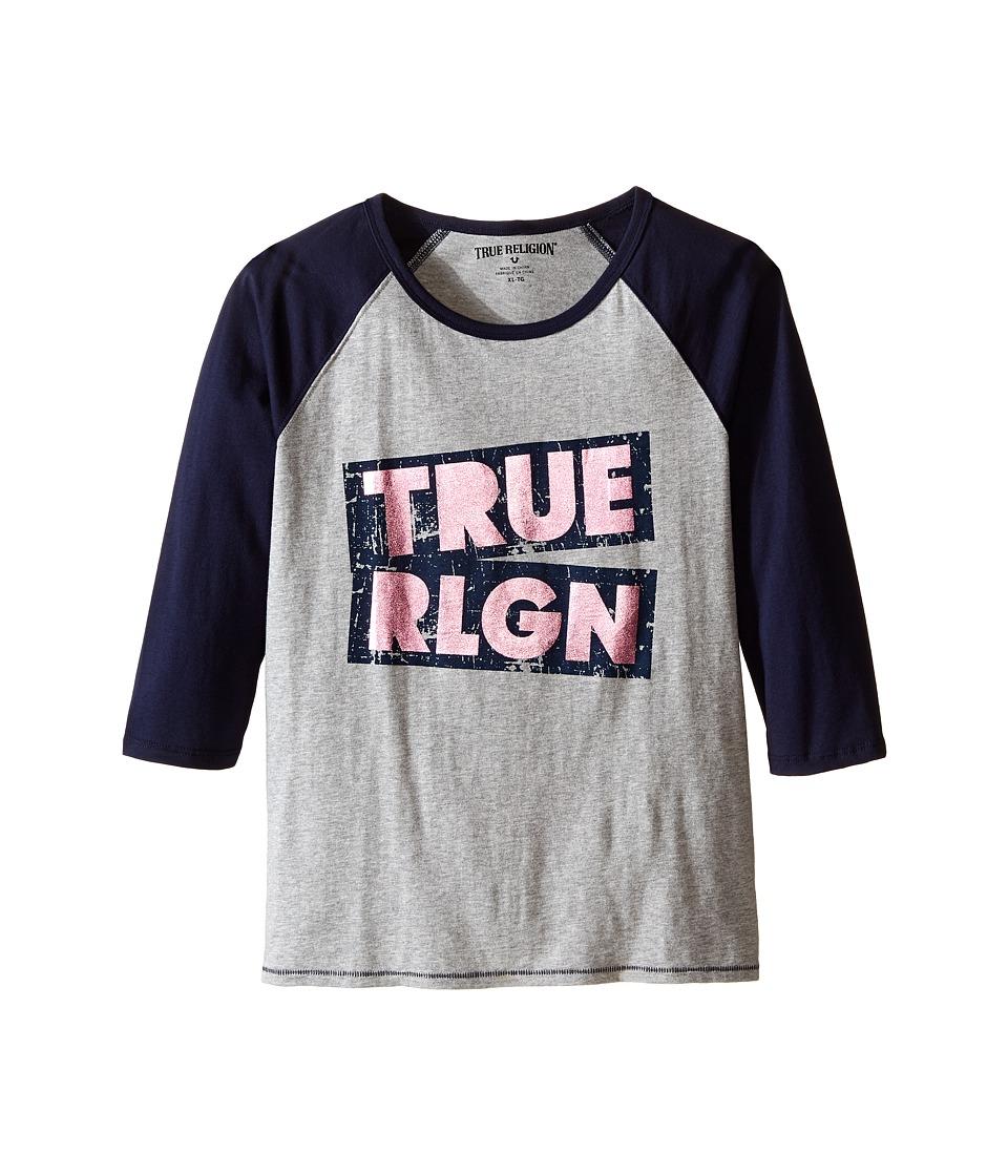 True Religion Kids - Long Sleeve Raglan Tee Shirt (Little Kids/Big Kids) (Heather Gray) Girl