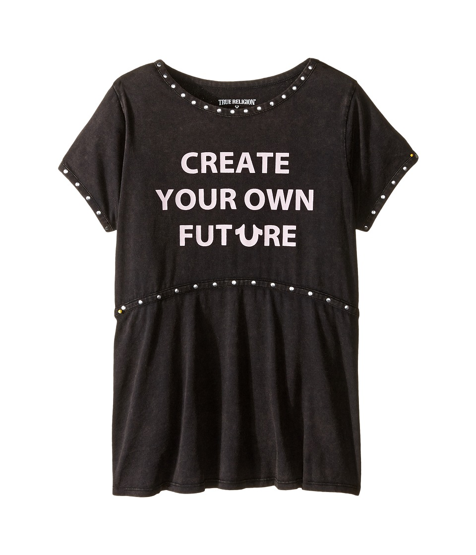 True Religion Kids Studded Future Tee Shirt (Little Kids/Big Kids) (Black) Girl
