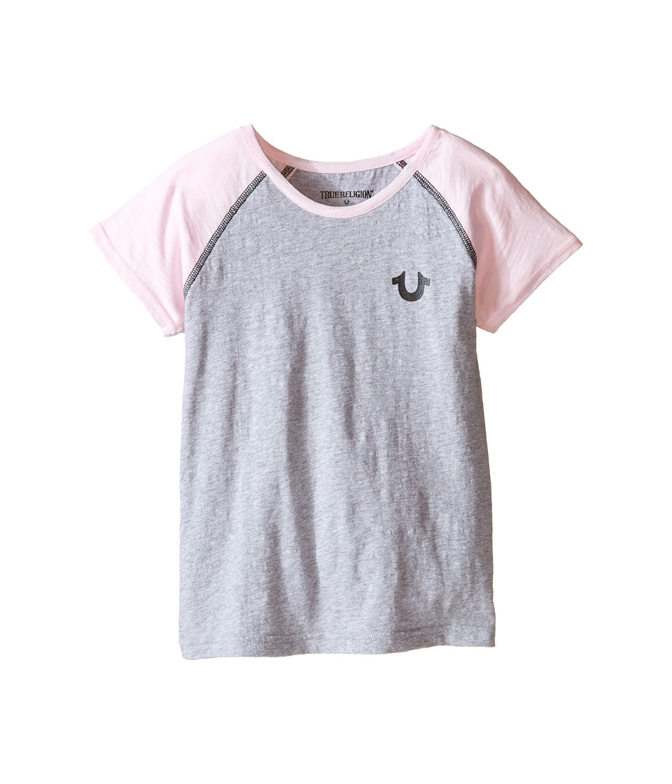 True Religion Kids Branded Logo Tee (Toddler/Little Kids) (Heather Gray) Girl