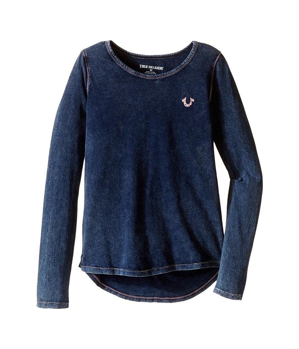 True Religion Kids - TR Buddha Long Sleeve Tee Shirt (Little Kids/Big Kids) (Blue Velvet) Girl