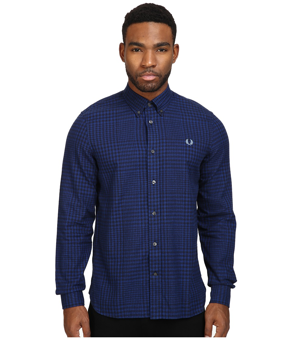 Fred Perry Distorted Gingham Twill Shirt (Cobalt) Men's C...