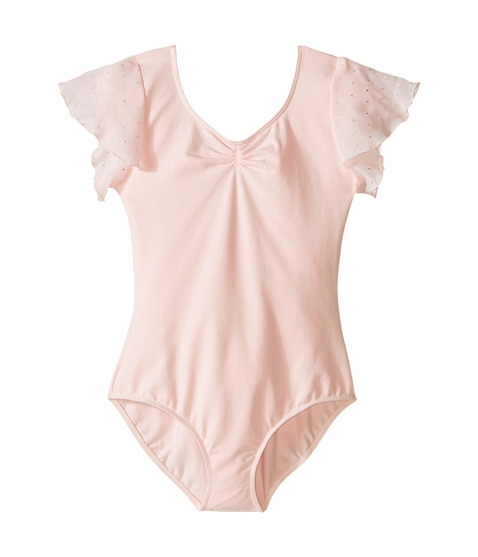 Bloch Kids - Flutter Sleeve Leotard with Sequin Dot (Toddler/Little Kids/Big Kids) (Candy Pink) Girls Jumpsuit & Rompers One Piece