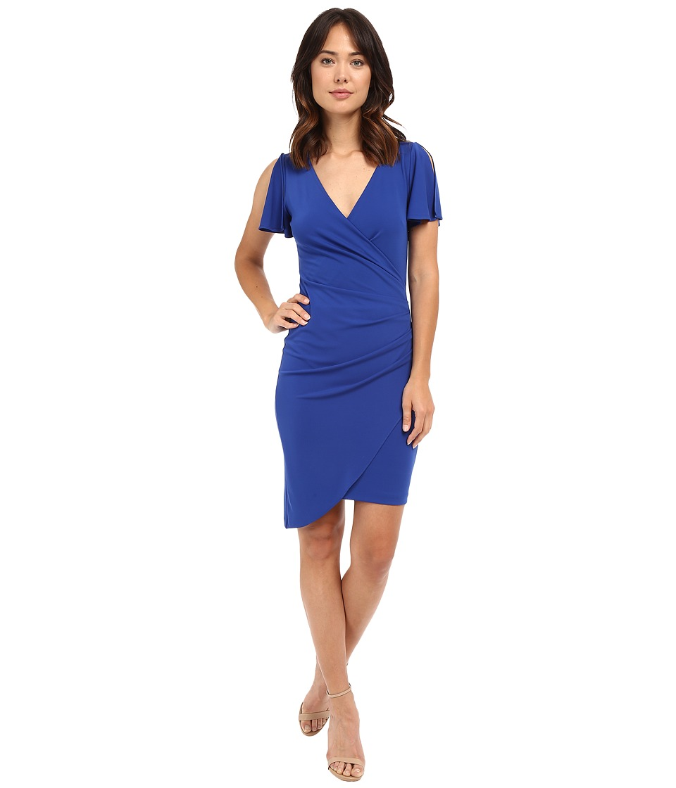 Nicole Miller Cyliva Flutter Sleeve Drape Dress (Brilliant Blue) Women