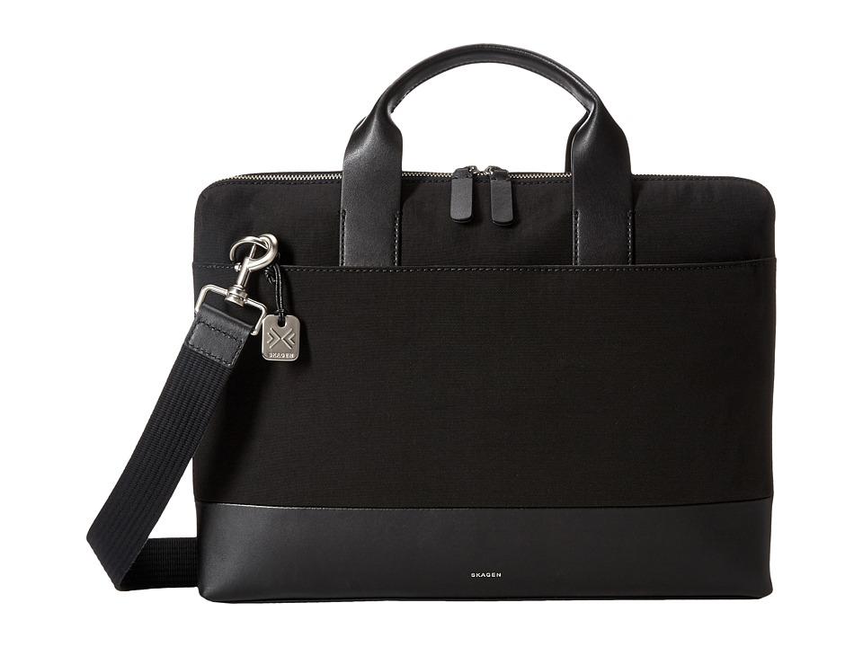 Skagen Peder Slim Briefcase (Black) Briefcase Bags