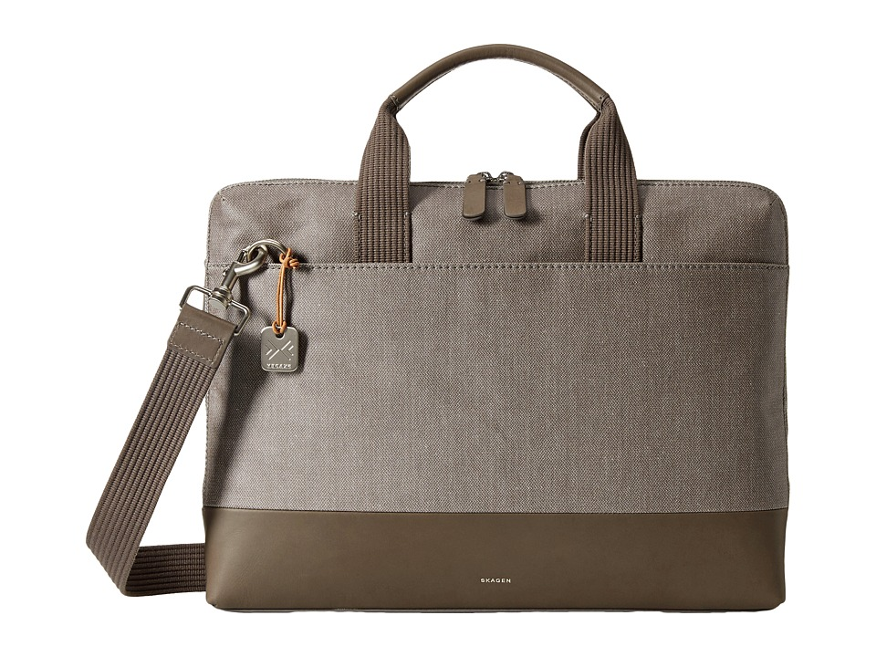 Skagen - Peder Slim Briefcase (Dark Heather Gray) Briefcase Bags