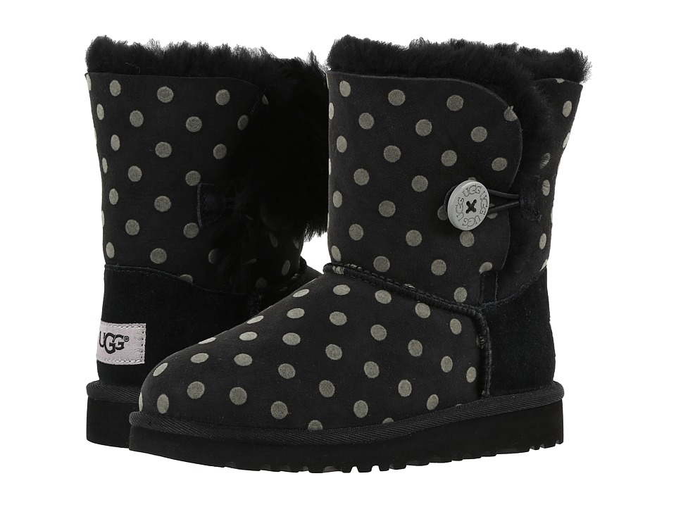 UGG Kids Bailey Button Polka Dot (Little Kid/Big Kid) (Black) Girl's Shoes