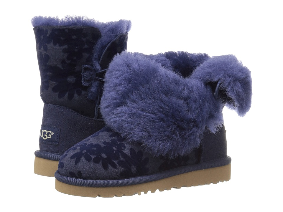 UGG Kids Bailey Button Flowers (Toddler/Little Kid) (Navy) Girl's Shoes