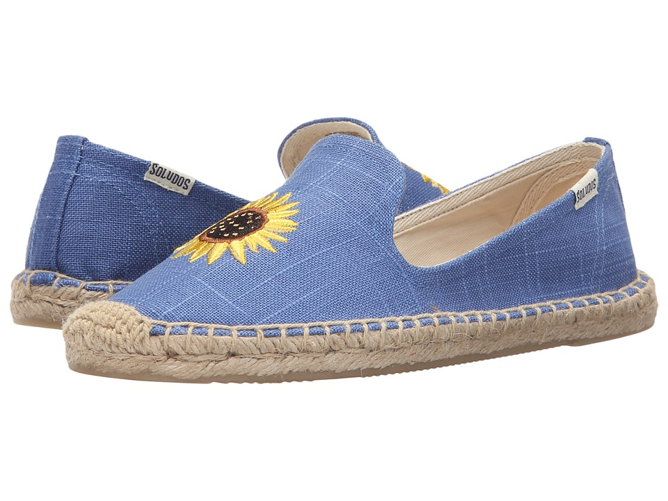 Soludos Embroidered Smoking Slipper Ultramarine Cotton Canvas Womens Slippers
