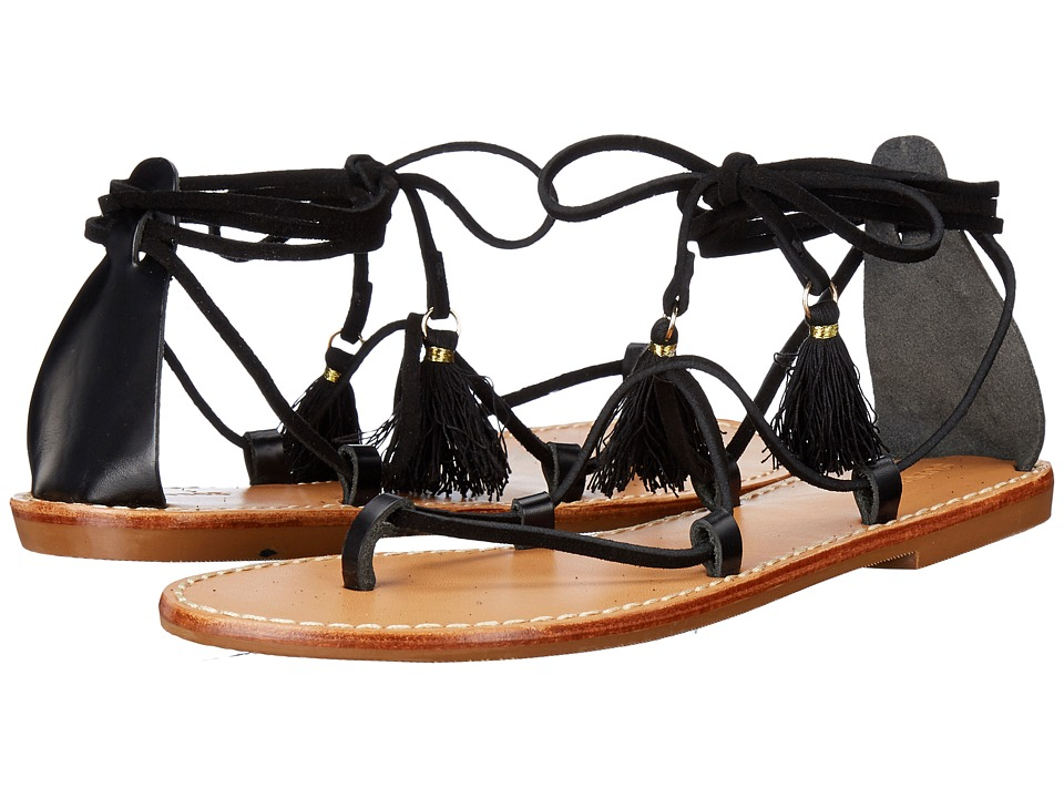 Soludos Gladiator Lace Up Sandal Black Leather Womens Sandals