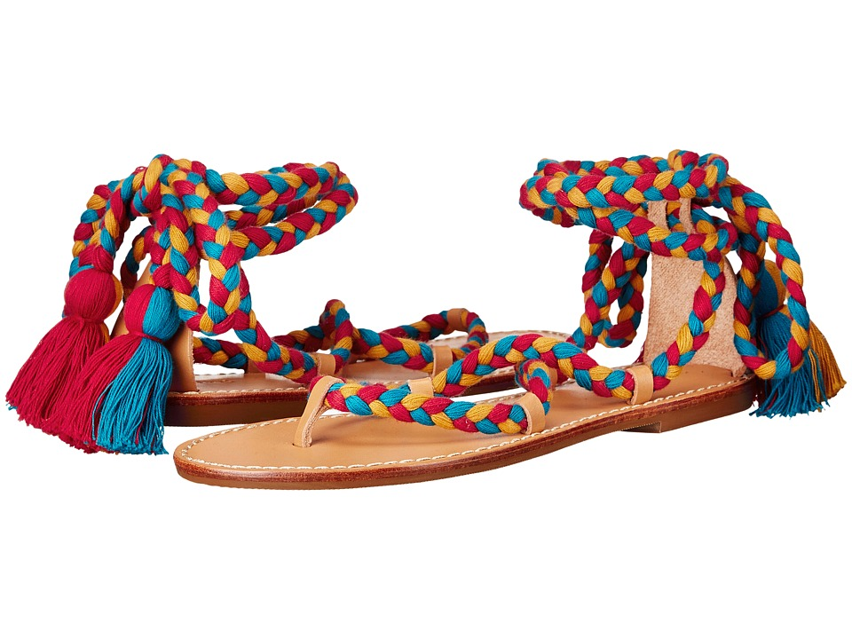 Soludos Gladiator Lace Up Sandal Red/Teal/Gold Cotton Laces On Leather Sole Womens Sandals