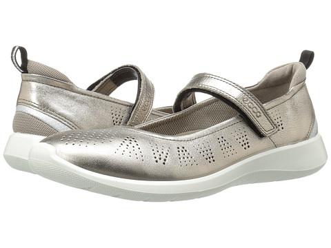 ECCO Soft 5 Mary Jane - Warm Grey Metallic/Moon Rock Cow Leather/Textile