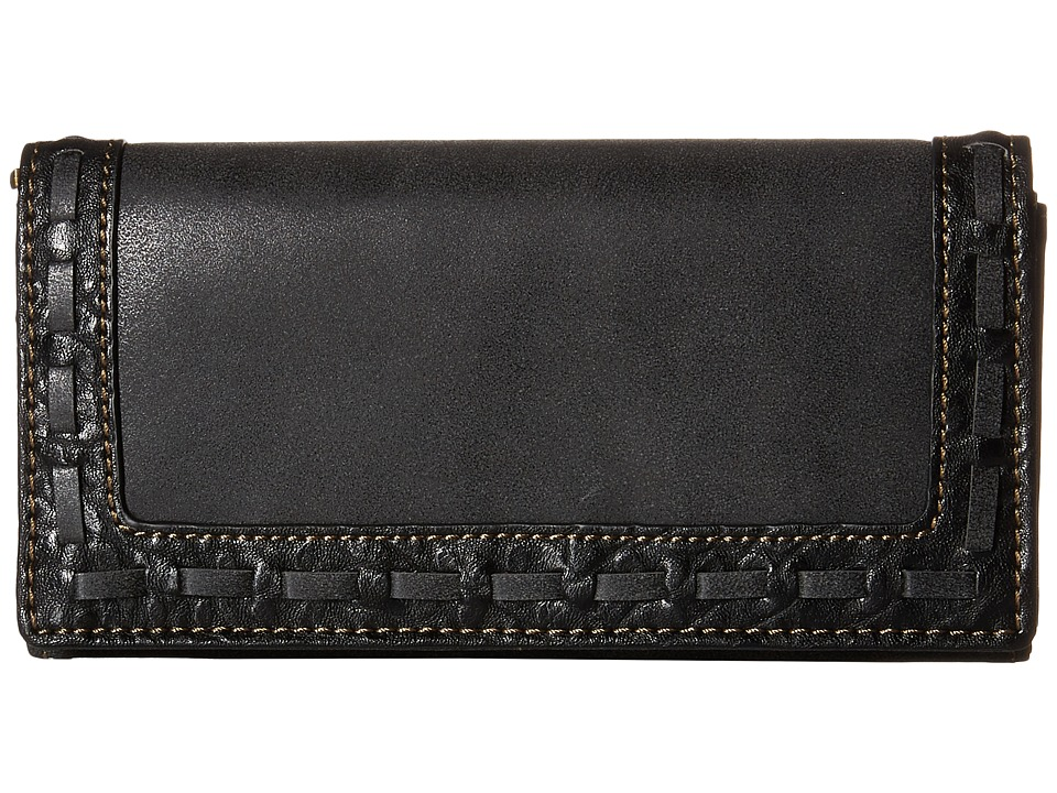 American West - Guns And Roses Flap Wallet (Charcoal) Wallet Handbags
