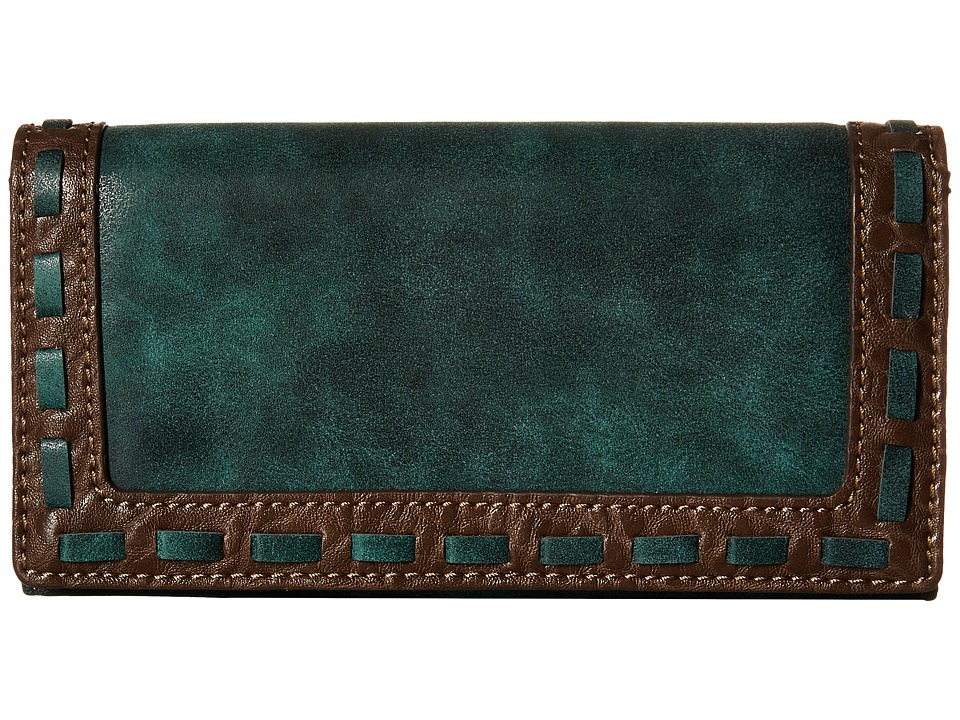 American West - Guns And Roses Flap Wallet (Dark Teal) Wallet Handbags