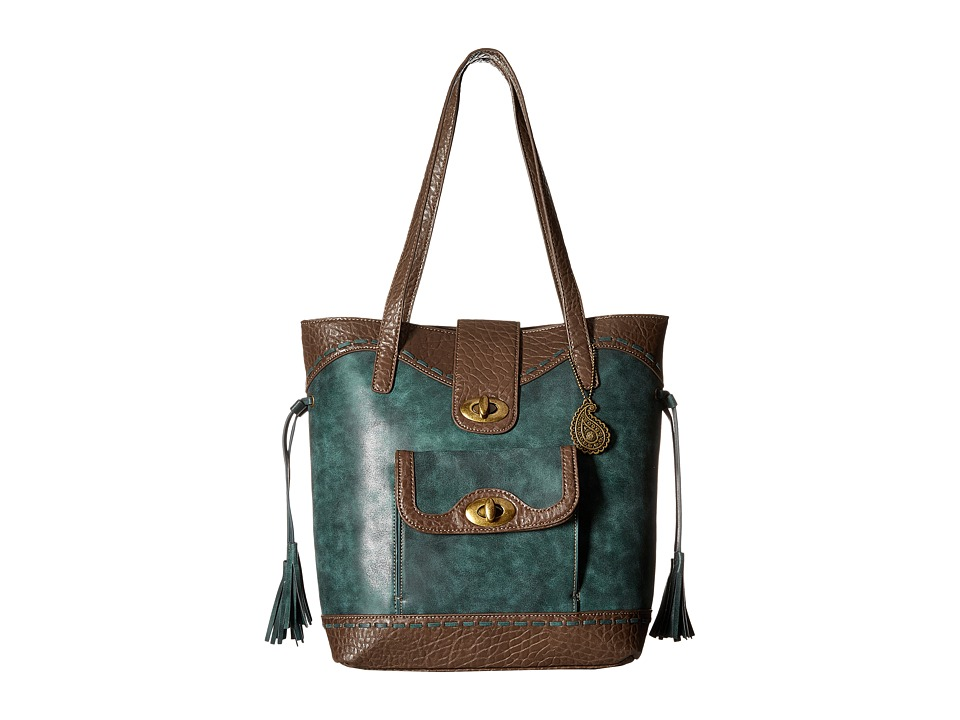 American West - Guns And Roses Bucket Tote (Dark Teal) Tote Handbags