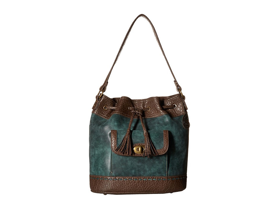 American West - Guns And Roses Drawstring Bucket Bag (Dark Teal) Drawstring Handbags