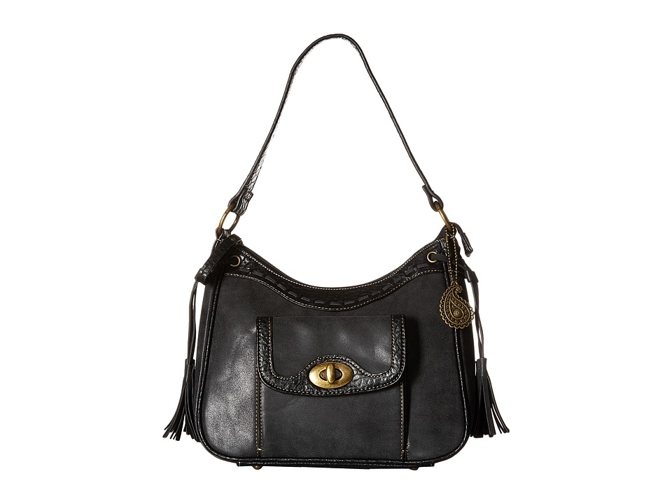 American West - Guns And Roses Zip Top Shoulder Bag (Charcoal) Shoulder Handbags