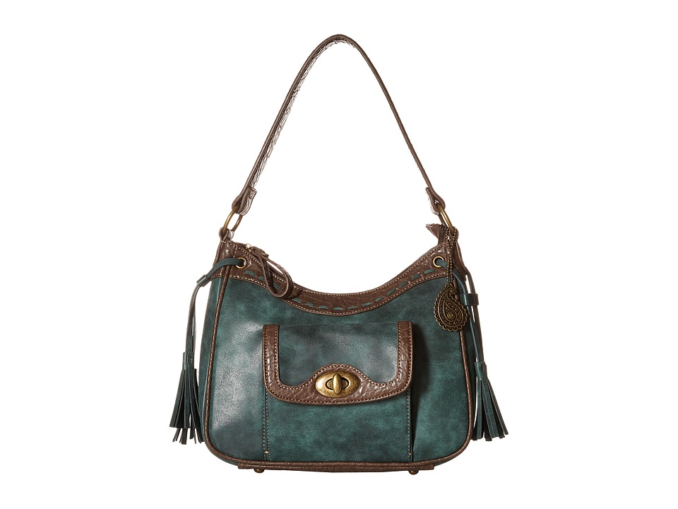 American West - Guns And Roses Zip Top Shoulder Bag (Dark Teal) Shoulder Handbags