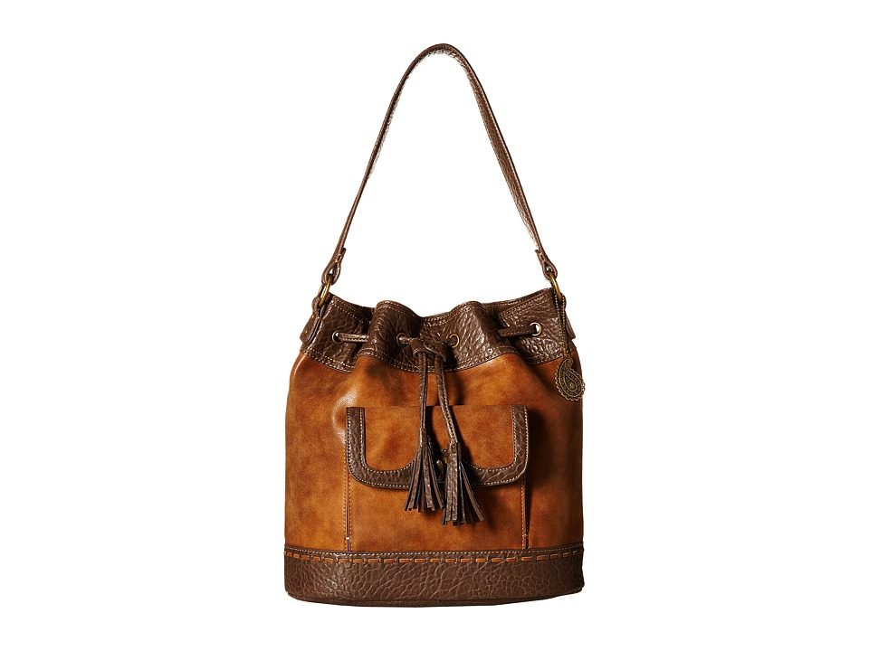 American West - Guns And Roses Drawstring Bucket Bag (Golden Tan) Drawstring Handbags