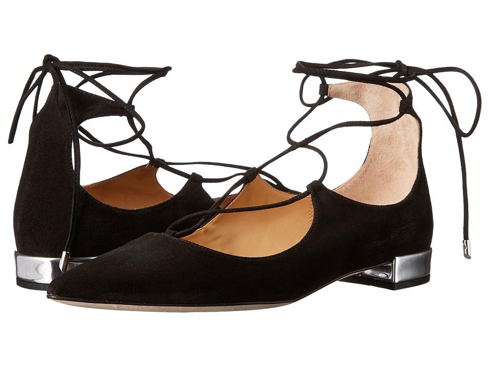 Massimo Matteo Lace-Up Flat (Black Suede) Women