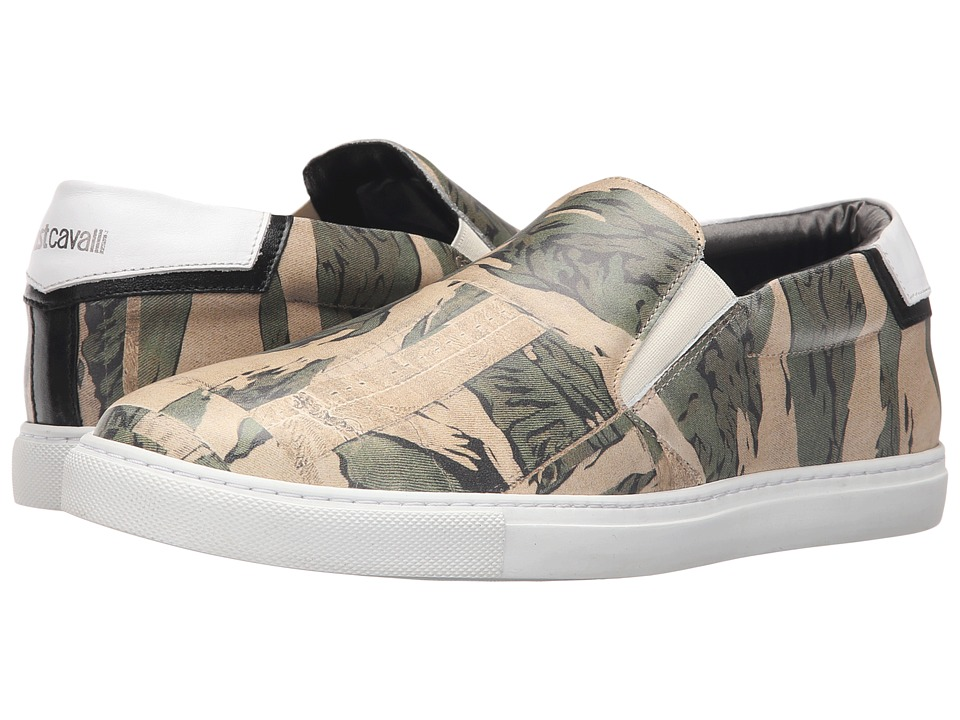 Just Cavalli Camowork Printed Calf Leather Slip On Nut Variant Mens Shoes