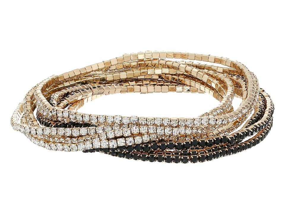 GUESS - 10-Piece Stone Stretch Bracelet Set (Gold/Jet) Bracelet
