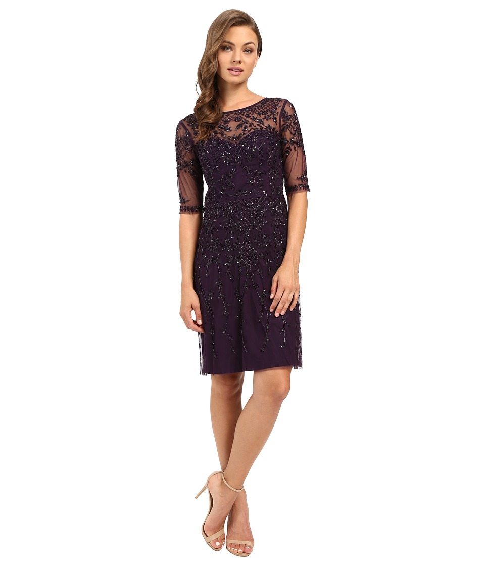 Image of Adrianna Papell - 3/4 Sleeve Fully Beaded Cocktail Dress (Amethyst) Women's Dress