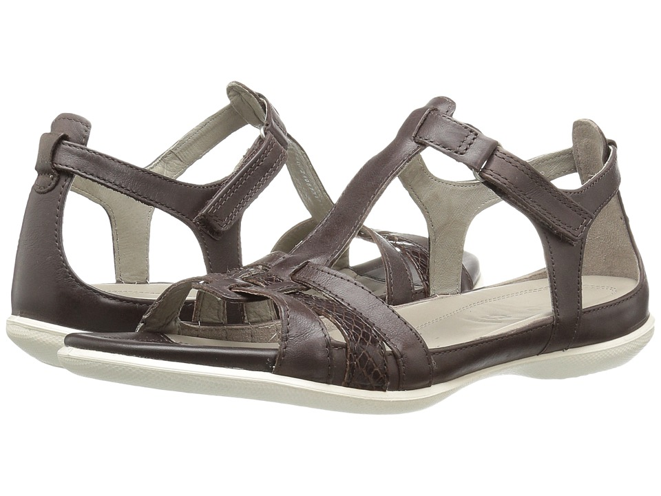 ECCO Flash T-Strap Sandal (Coffee/Coffee) Women