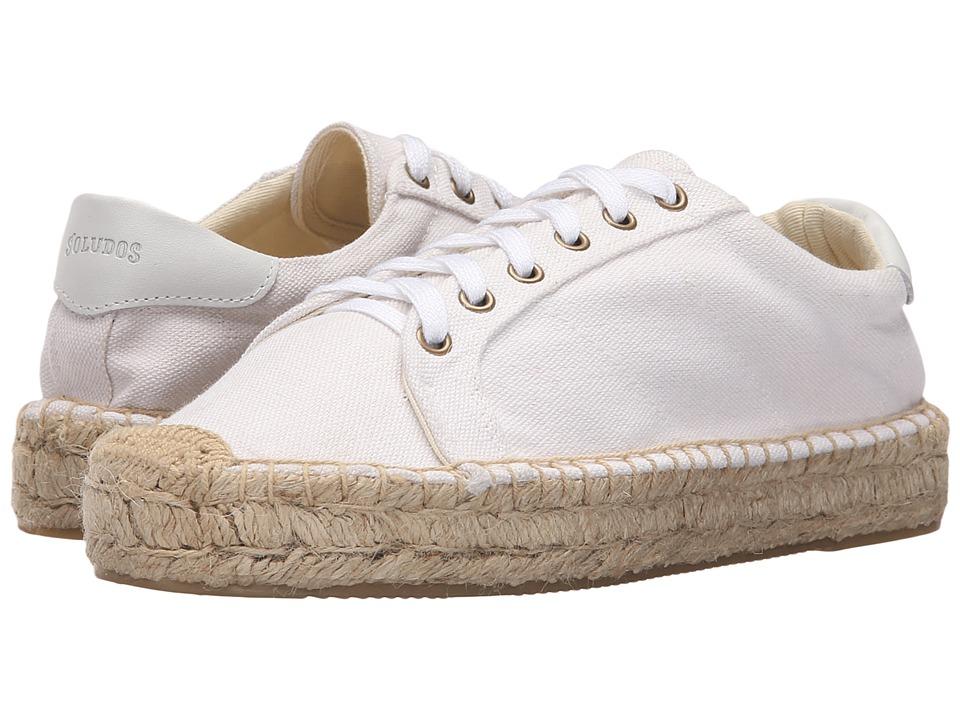 Soludos Platform Tennis Sneaker (White Cotton Canvas) Women