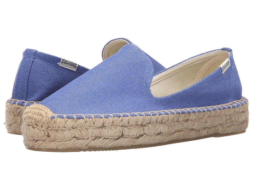Soludos Platform Smoking Slipper Marina Blue Cotton Canvas Womens Slippers