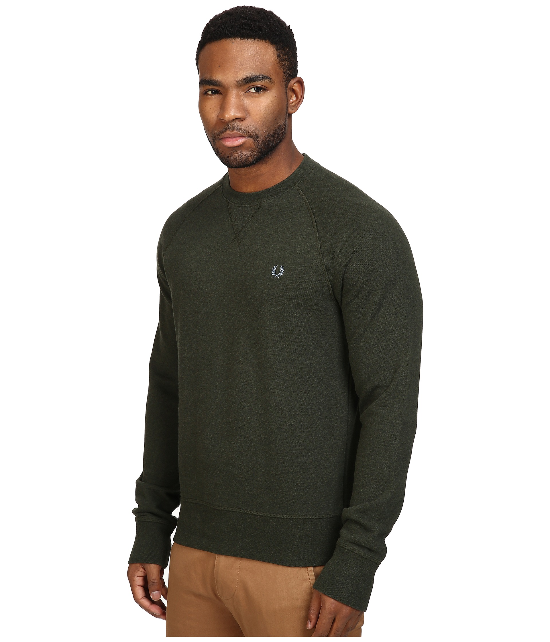 fred perry loopback crew sweater british racing green free shipping both ways. Black Bedroom Furniture Sets. Home Design Ideas