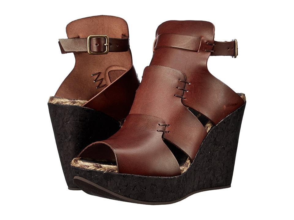 Free People Vachetta Rose Wedge Mahogany Womens Wedge Shoes