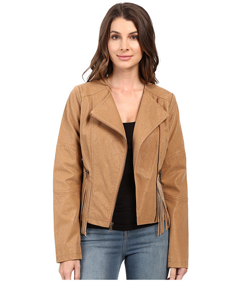 Jessica Simpson Asymmetrical Zip with Fringe Detail Jacket