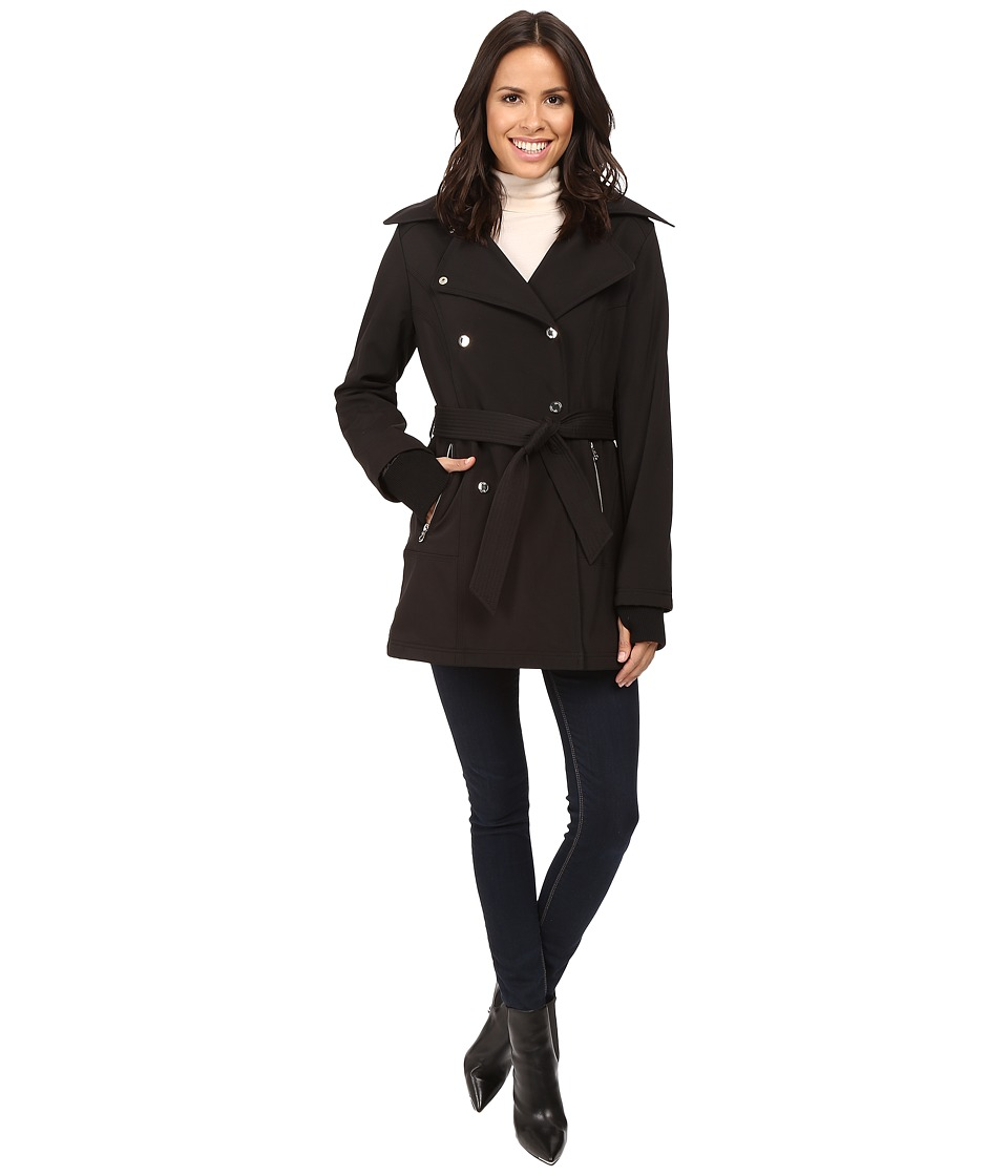 Jessica Simpson Double Breasted Softshell Jacket (Black) Women