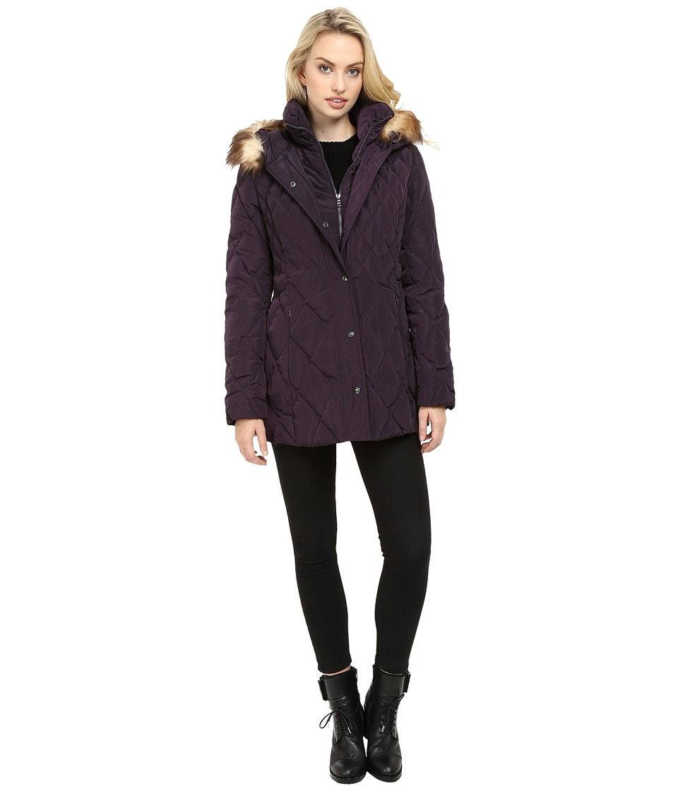 Jessica Simpson - Quilted Down with Faux Fur Trim (Amethyst) Women