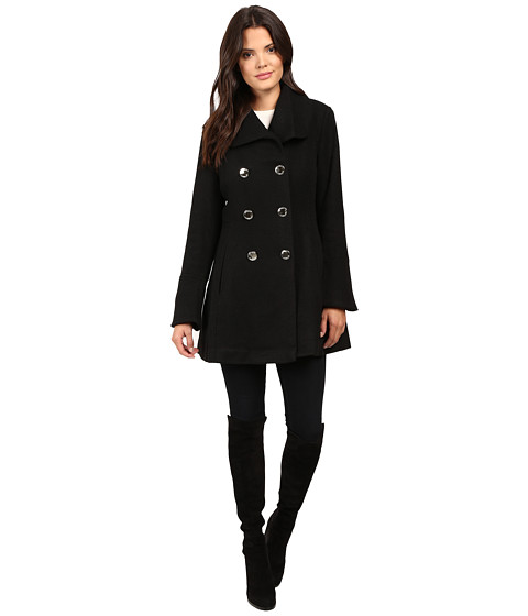 Jessica Simpson Basketweave with Bell Sleeves and Envelope Collar - Black