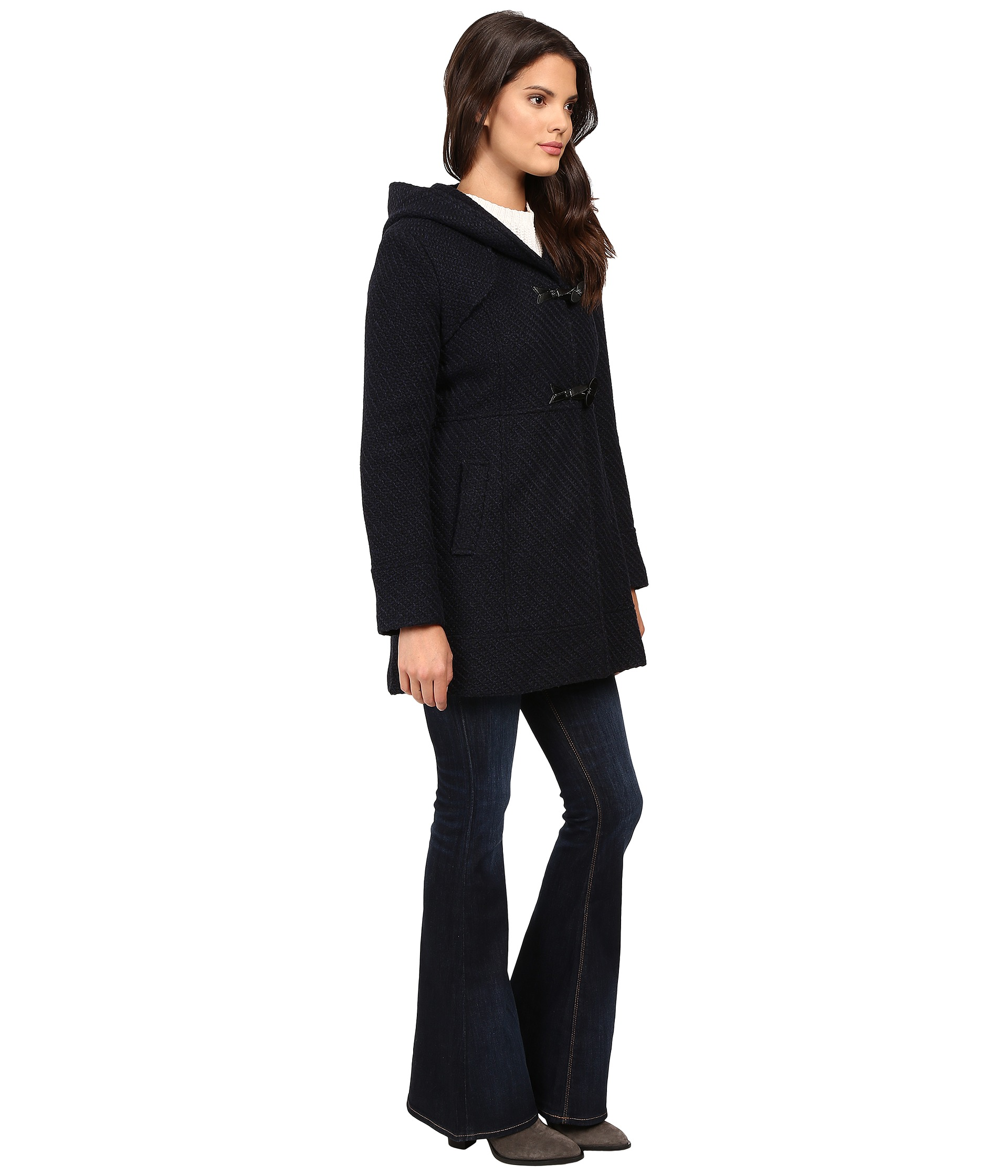 Jessica Simpson Braided Wool Duffle Coat with Hood - Zappos.com ...