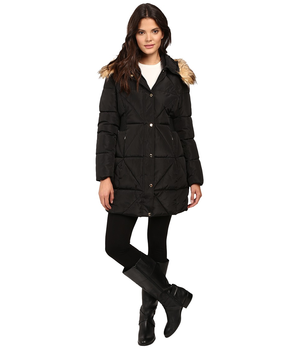 Jessica Simpson - Cinched Waist Puffer w/ Hood and Removable Faux Fur (Black) Women