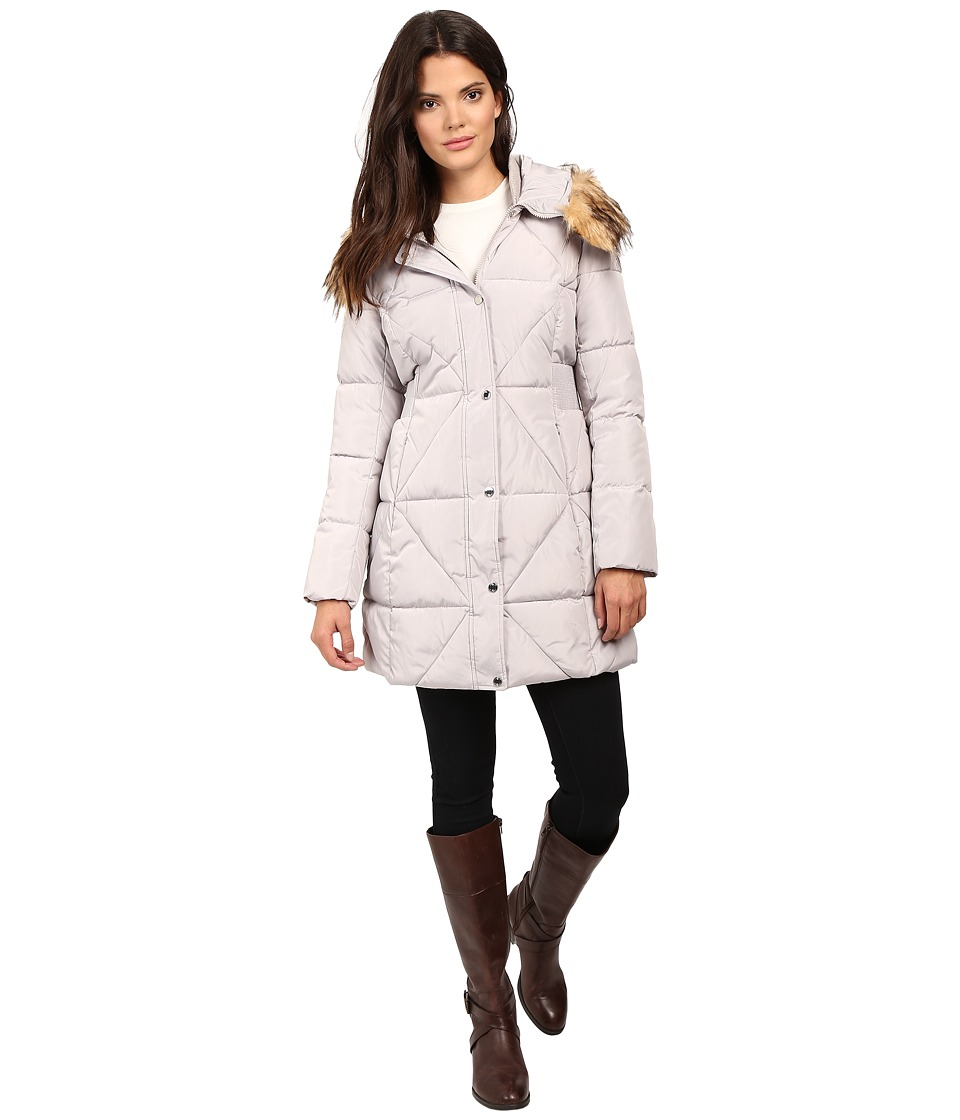 Jessica Simpson - Cinched Waist Puffer w/ Hood and Removable Faux Fur (Pearl) Women