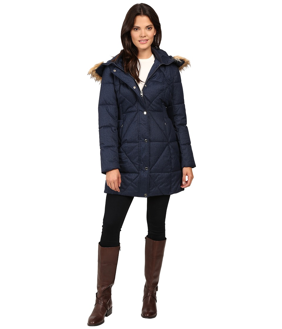 Jessica Simpson - Cinched Waist Puffer w/ Hood and Removable Faux Fur (Indigo) Women