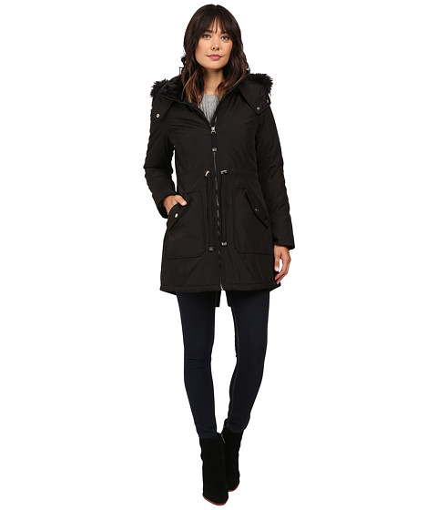 Jessica Simpson Quilted Fill Puffer w/ Drawstrings Hood and Removable Faux Fur
