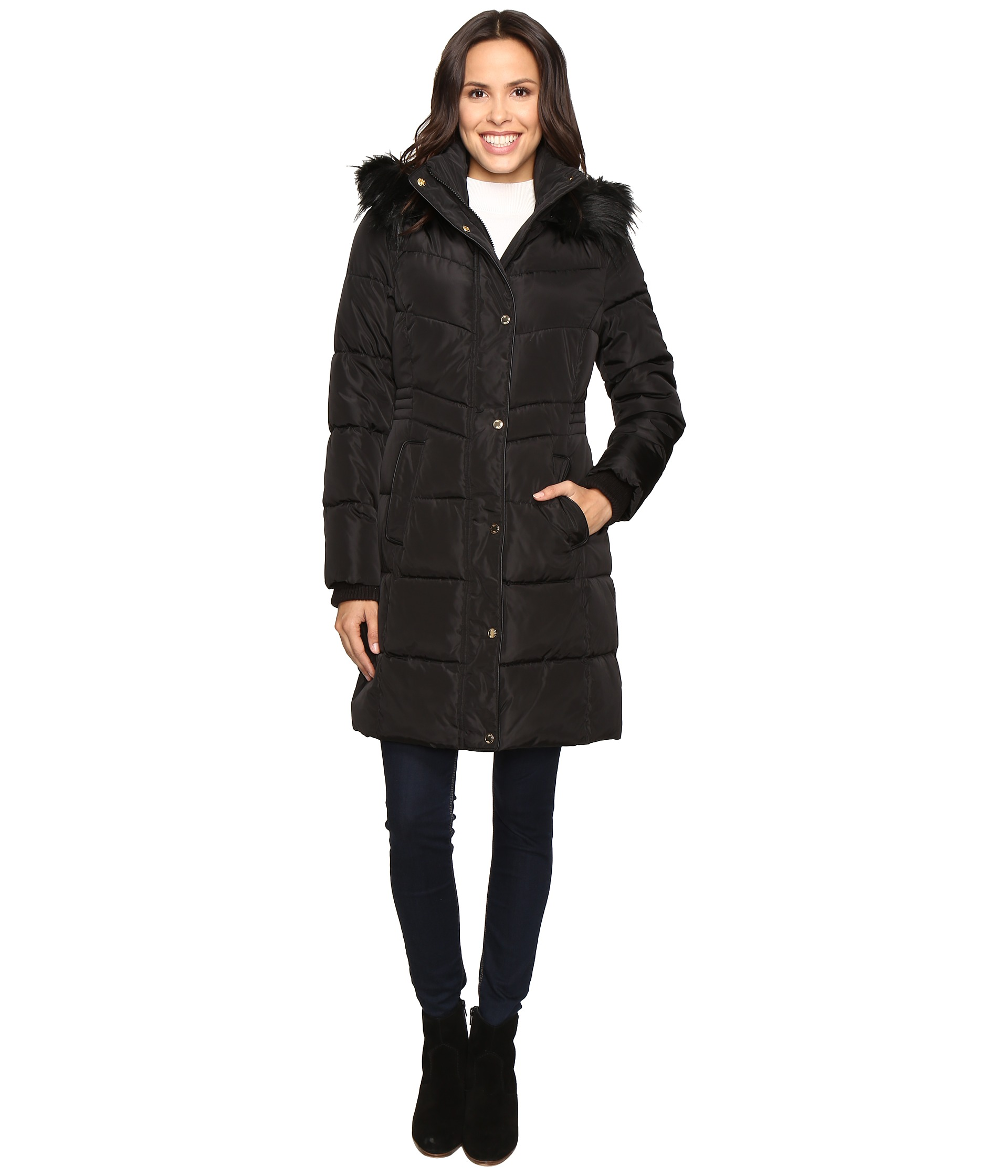 Jessica Simpson Long Puffer W Waist Detail Hood And Faux