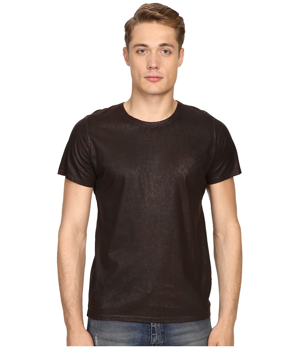 Just Cavalli - Dye Effect Laser Jaquar Skin Effect T-Shirt (Wine) Men