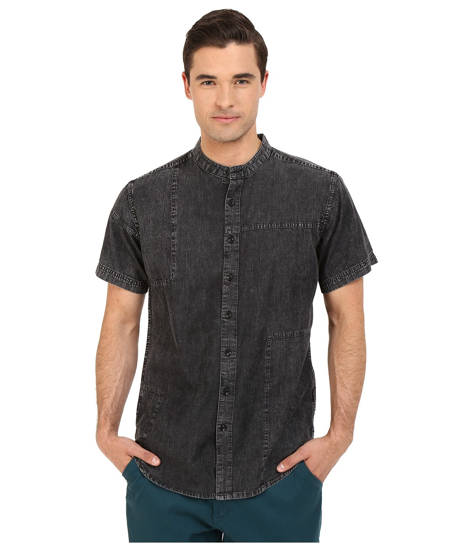 Publish Camilo Mandarin Collar Denim Chambray Button Up Black Mens Short Sleeve Button Up