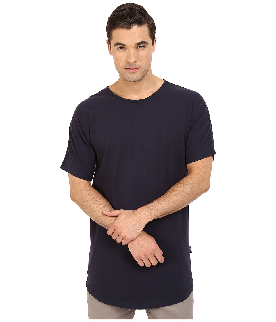 Publish Beckham Distressed Scallop Bottom Tee Navy Mens T Shirt