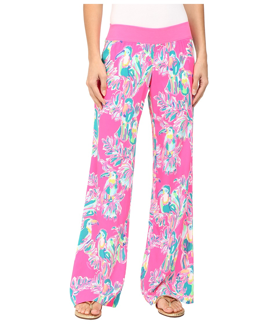 Lilly Pulitzer - Seaside Beach Palazzo Pants (Dragonfruit Toucan Can) Women's Casual Pants plus size,  plus size fashion plus size appare
