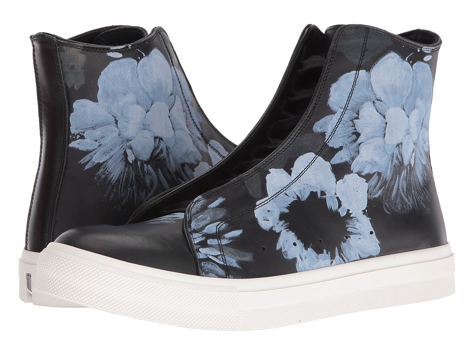 Alexander McQueen Floral Painted High Top Sneaker (Black/Black) Men