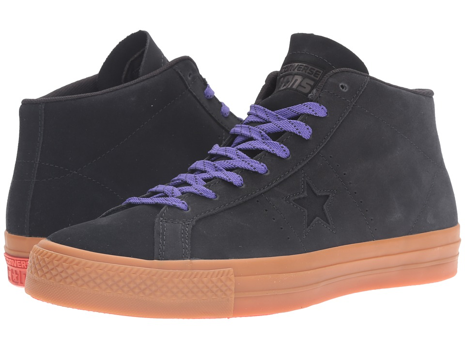 Converse - One Star Pro Leather Mid (Black/Gum/Candy Grape) Classic Shoes